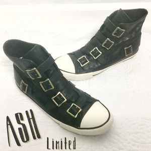 ASH Limited Black Leather Hightop Sneakers Sz 11